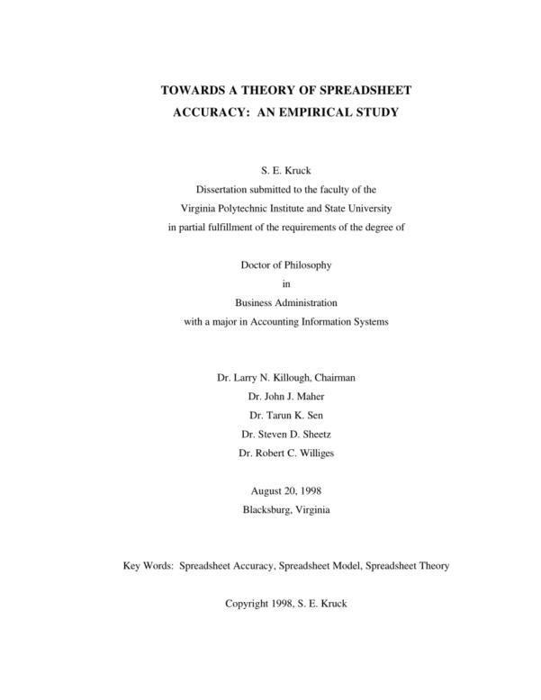 Australian Golf Handicap Calculator Spreadsheet Regarding Pdf Towards A Theory Of Spreadsheet Accuracy: An Empirical Study