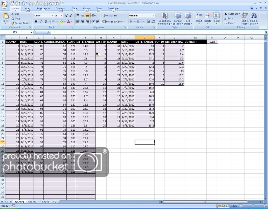 Australian Golf Handicap Calculator Spreadsheet With Regard To Microsoft Excel Handicap Calculator **updated Aug2013  Rules Of
