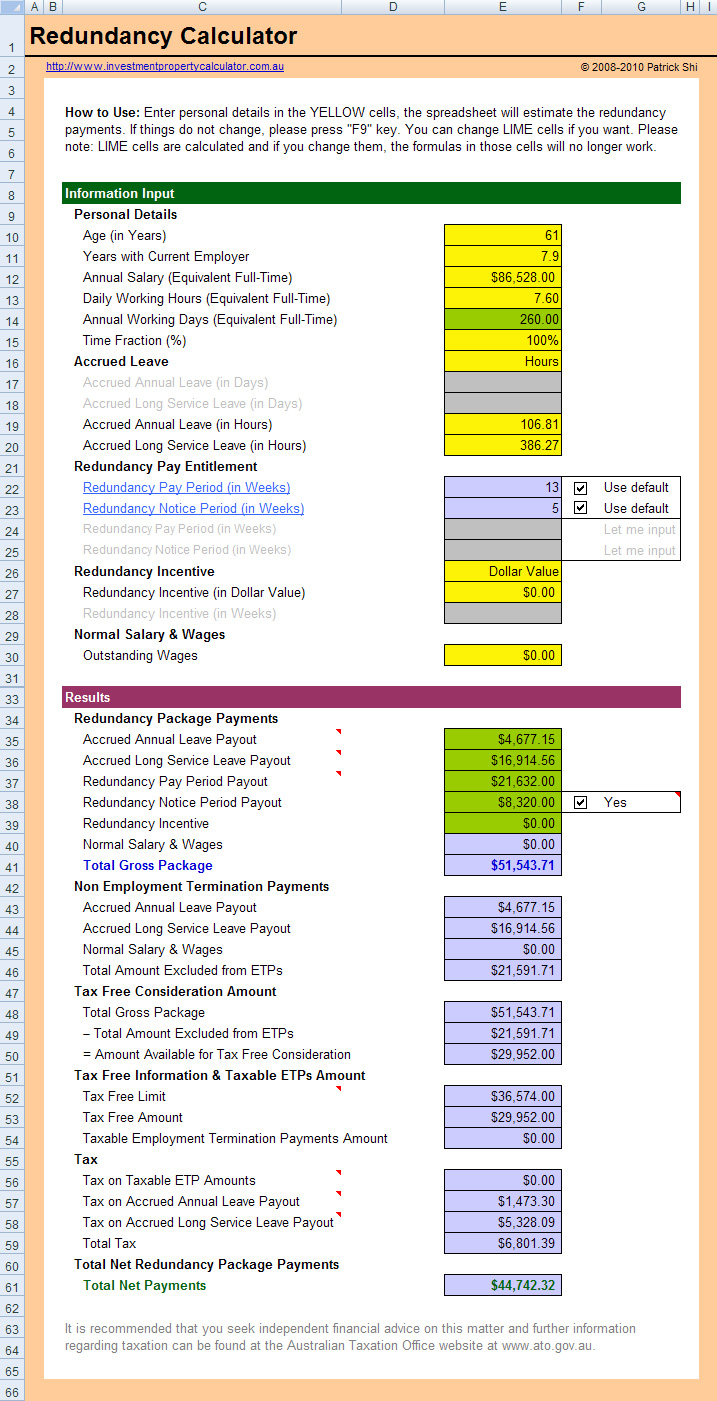 Australian Tax Calculator Excel Spreadsheet Intended For Free Redundancy Entitlements Calculator Spreadsheet In Excel
