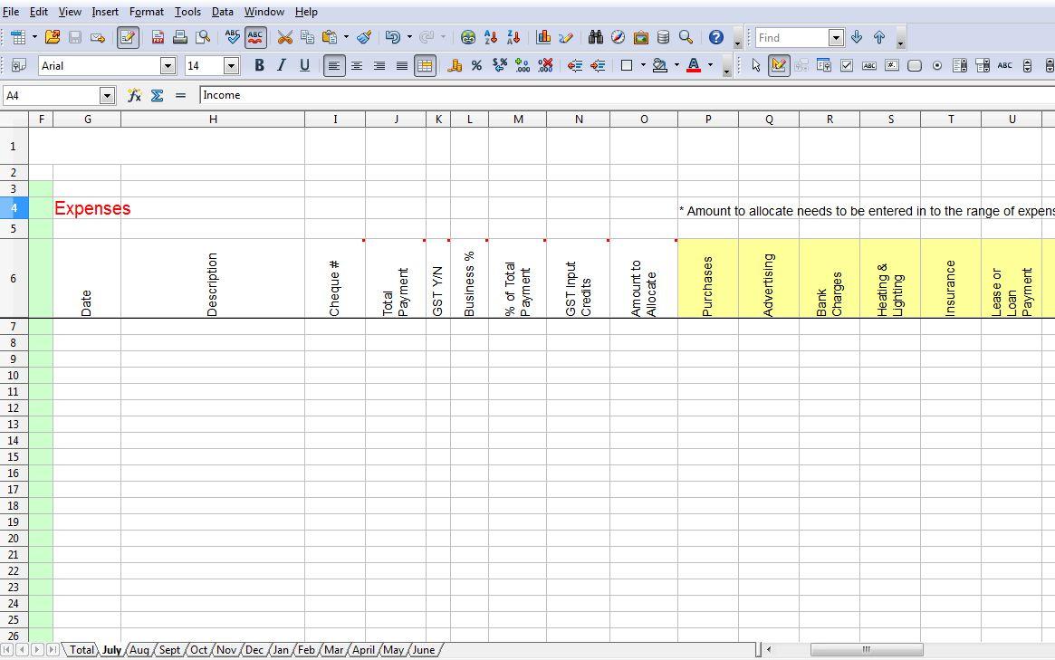 Australian Tax Return Spreadsheet Template For Tax Return Expenses Template  Topgradeacai