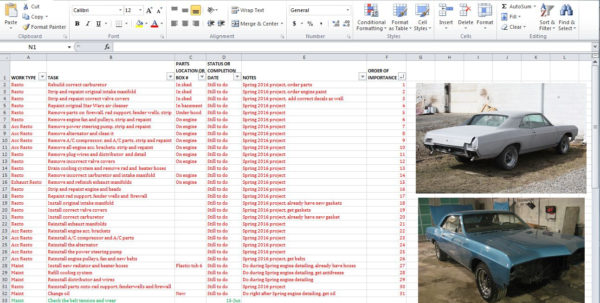 Auto Restoration Spreadsheet Inside 10  Parts And Task Management List Tips To Help With Your  Hemmings