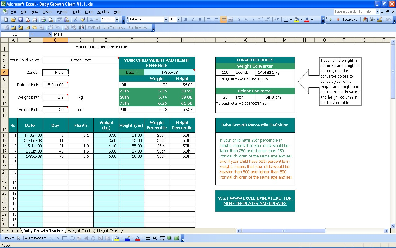 Baby Excel Spreadsheet For Baby Growth Chart  Excel Templates