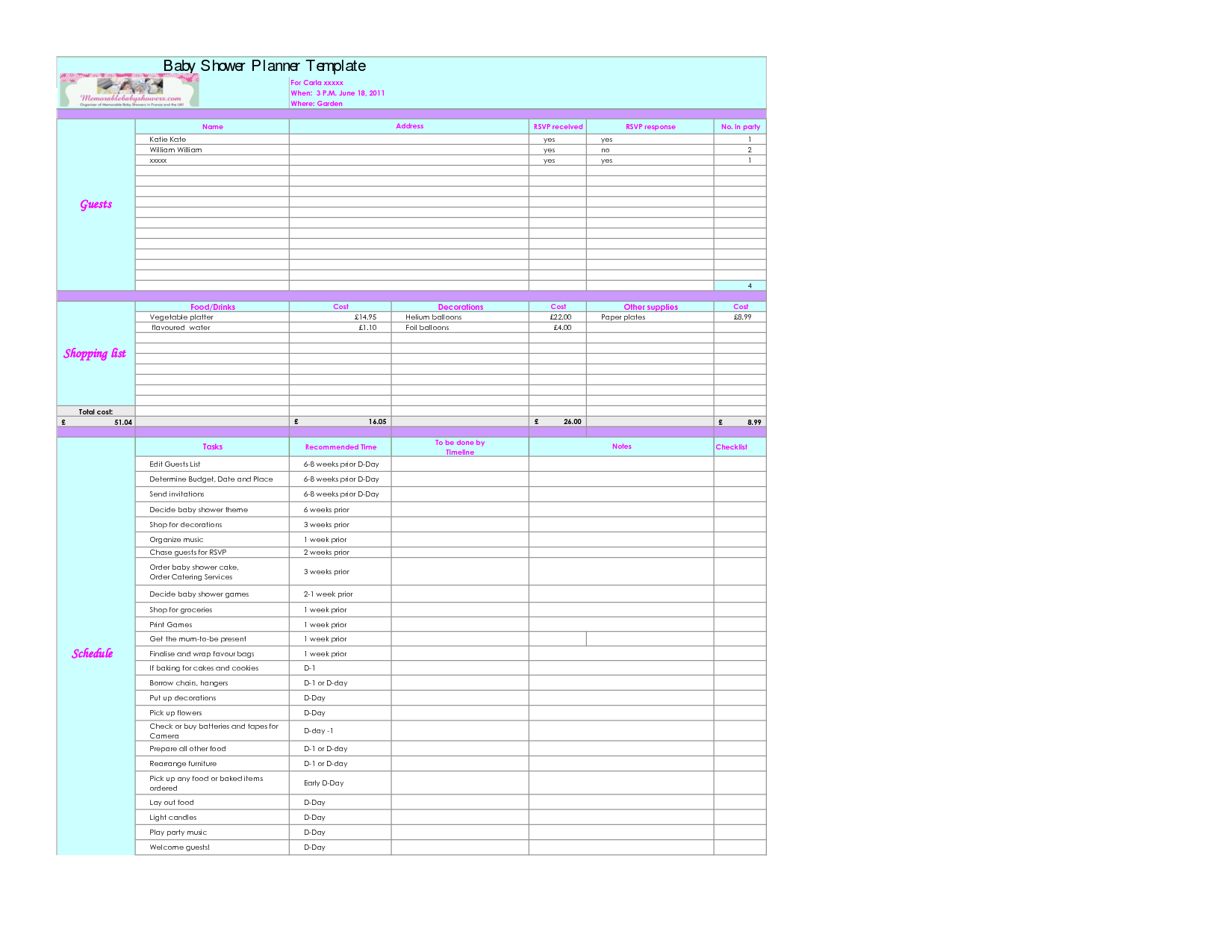 Baby Excel Spreadsheet In Example Of Baby Budget Spreadsheet Astonishing Design Shower