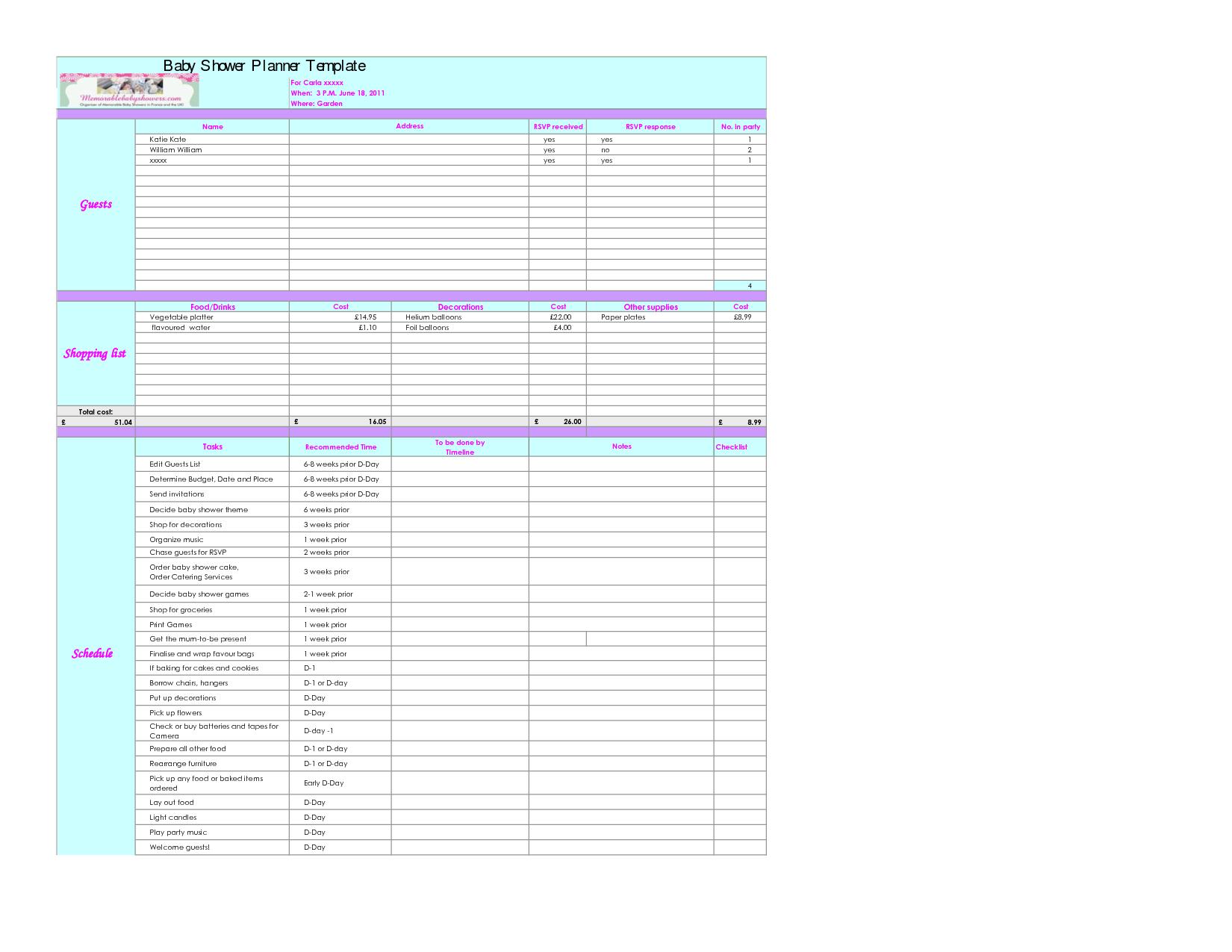 Baby Excel Spreadsheet In Example Of Baby Budget Spreadsheet Astonishing Design Shower