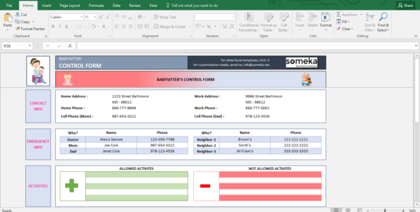 Baby Excel Spreadsheet With Baby Information Sheet For Babysitter  Printable Excel Form