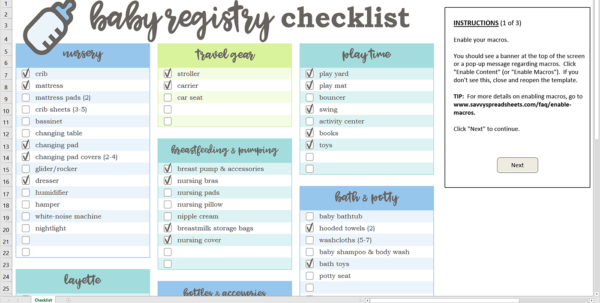 Baby Excel Spreadsheet With Baby Registry Checklist  Excel Template  Savvy Spreadsheets