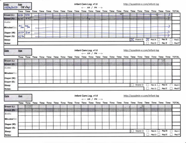 Baby Excel Spreadsheet Within Sys Admin Extraordinaire  » Blog Archive » Infant Feeding, Diaper