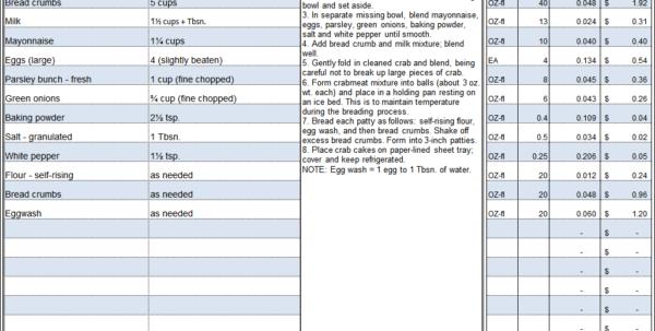 Baking Cost Calculator Spreadsheet With Menu  Recipe Cost Spreadsheet Template