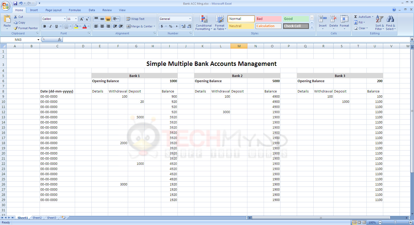 Bank Account Spreadsheet Excel With Manage Bank Accounts Using Simple Excel Sheet  Freebies  Techmynd
