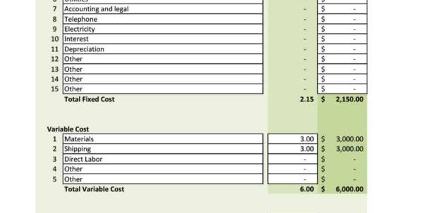 Bank Deposit Analysis Spreadsheet In 41 Free Break Even Analysis Templates  Excel Spreadsheets