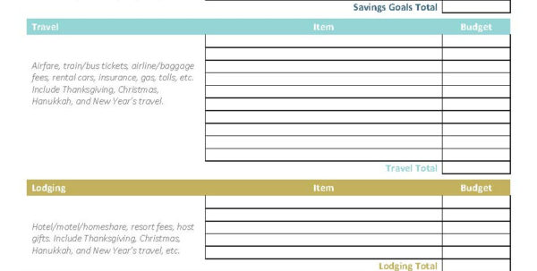 Bank Of America Budget Spreadsheet Throughout Free Holiday Budget Printable  America Saves