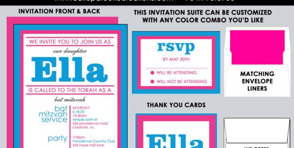 Bar Mitzvah Planning Spreadsheet Pertaining To Bat Mitzvah Invitations Pink And Blue Bat Mitzvah  Etsy