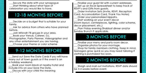 Bar Mitzvah Planning Spreadsheet Throughout Bar  Bat Mitzvah Planning Timeline: Detailed Checklist Included! Bar Mitzvah Planning Spreadsheet Payment Spreadsheet