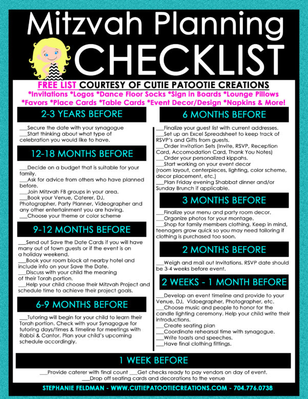 Bar Mitzvah Planning Spreadsheet Throughout Bar  Bat Mitzvah Planning Timeline: Detailed Checklist Included!