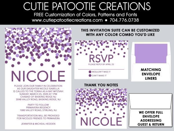 Bar Mitzvah Planning Spreadsheet Throughout Bat Mitzvah Invitations Purple Confetti Bat Mitzvah  Etsy