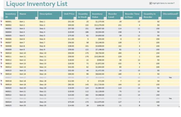 Bar Stocktake Spreadsheet In Sample Bar Inventory List And Bar Inventory List  Pulpedagogen