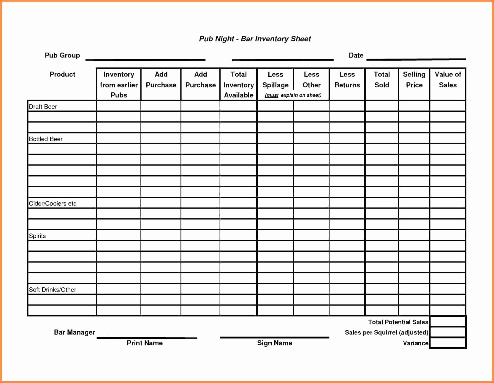 Bar Stocktake Spreadsheet With Regard To Bar I Free Liquor Inventory Spreadsheet Excel Template
