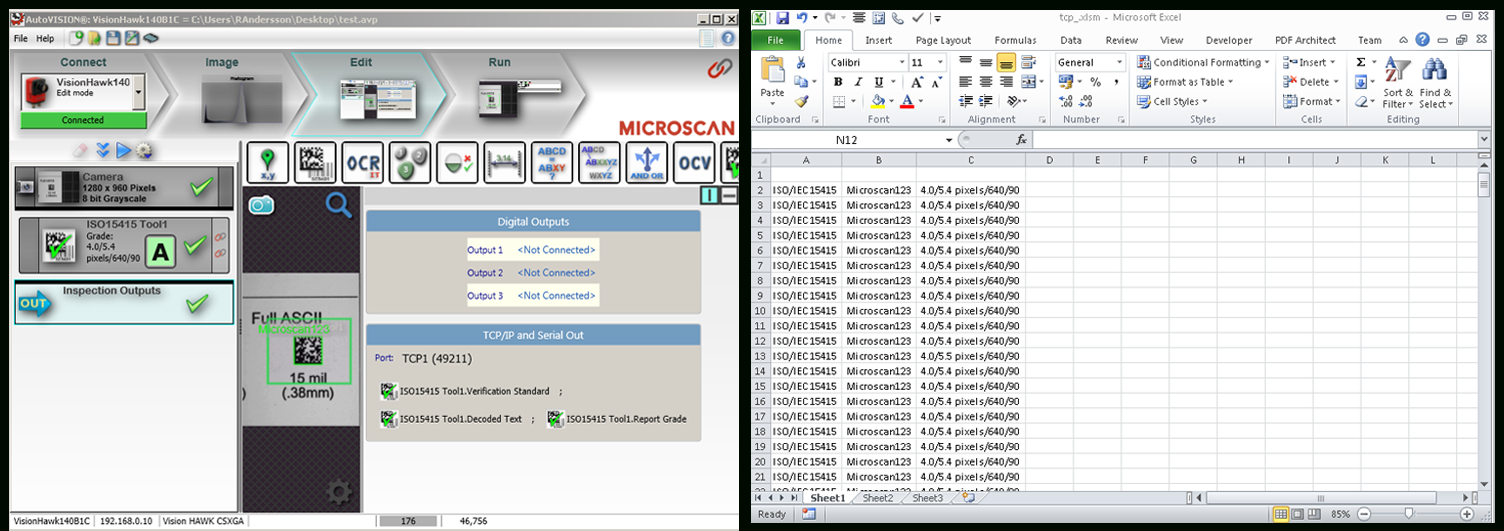 Barcode Scanner To Excel Spreadsheet With Stepstep: Writing Output From A Smart Camera Or Barcode Reader