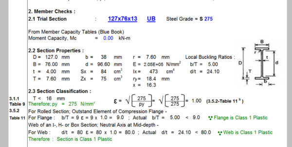 Base Plate Design Spreadsheet Bs 5950 Within Simply Supported Steel Beam Design In Accordance To Bs 5950  Civil