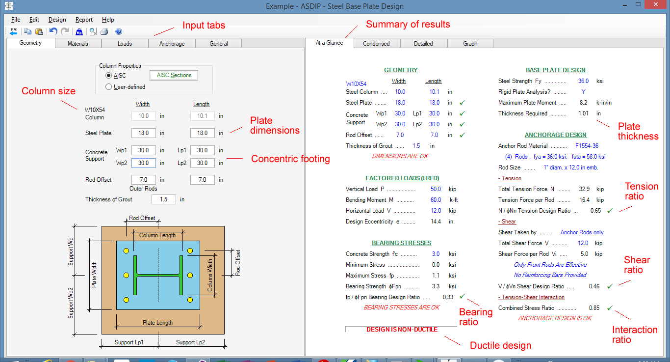 Base Plate Design Spreadsheet Free In Anchor Bolt Design Calculation Software  Asdip