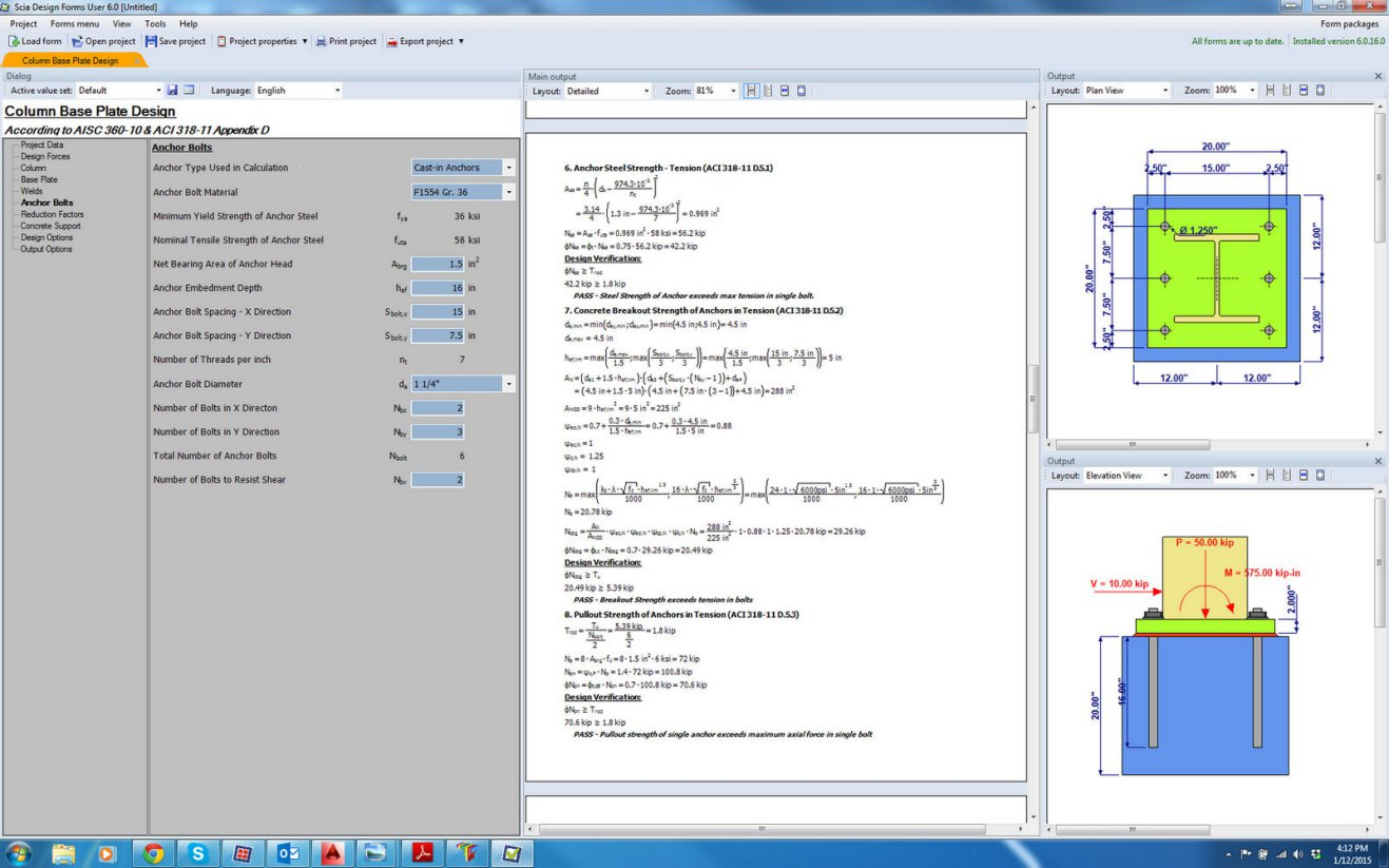 Base Plate Design Spreadsheet Free Intended For Column Base Plate  Anchor Bolt Scia Design Form