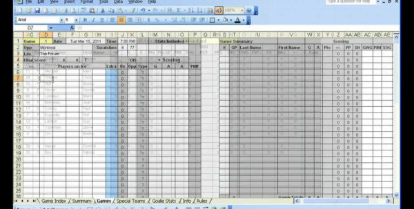Baseball Team Statistics Spreadsheet Throughout Excel Hockey Stats Tracker Youtubetics Spreadsheet Volleyball Sheet