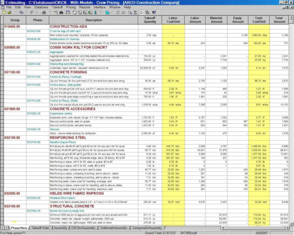 Basement Estimate Spreadsheet Within Lovely Construction Estimating Spreadsheet Template  Best Sample