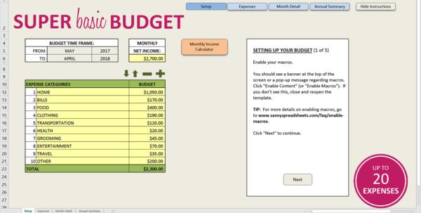 Basic Budget Spreadsheet Template Intended For Easy Budget Spreadsheet Excel Template  Savvy Spreadsheets