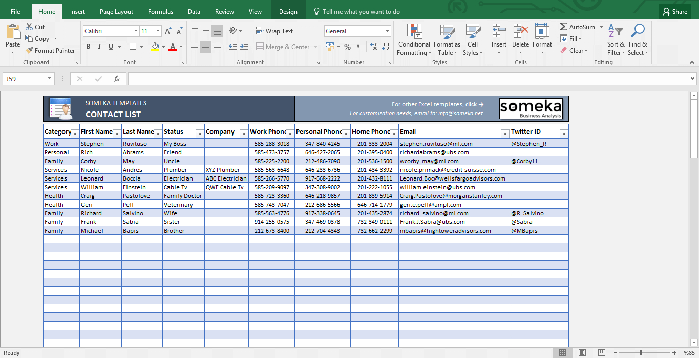 Basic Excel Spreadsheet Template Throughout Contact List Template In Excel  Free To Download  Easy To Print