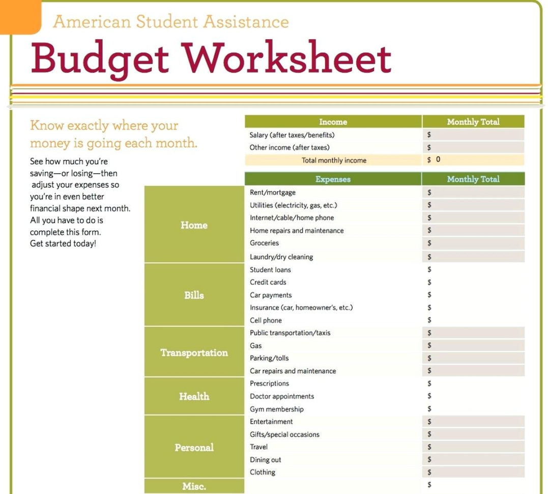 Basic Expenditure Spreadsheet Regarding Basic Budget Worksheet  Solan.annafora.co