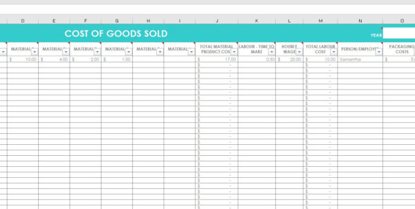 Bead Inventory Spreadsheet In Cost Of Goods Sold Inventory Spreadsheet Etsy Seller Tool Shop  Etsy