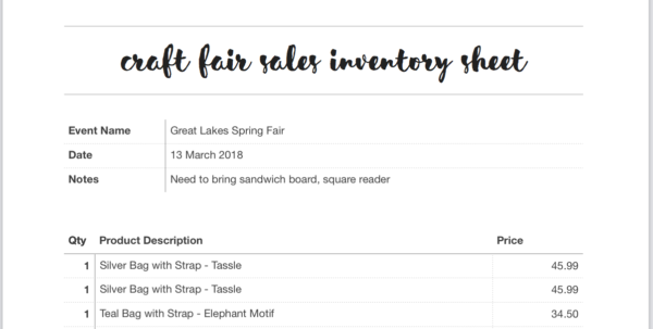 Bead Inventory Spreadsheet Pertaining To Free Craft Show Inventory Template