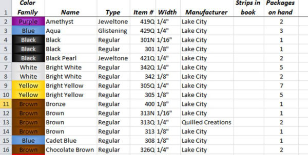 Bead Inventory Spreadsheet With June  2012  Curly Quills