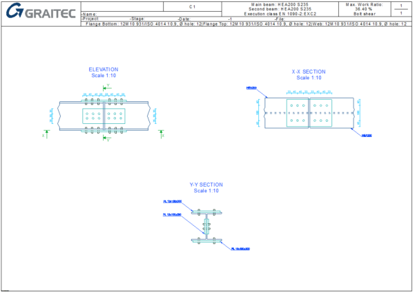 Beam Splice Design Spreadsheet Intended For Steel Connection Designer  Splice  Graitec