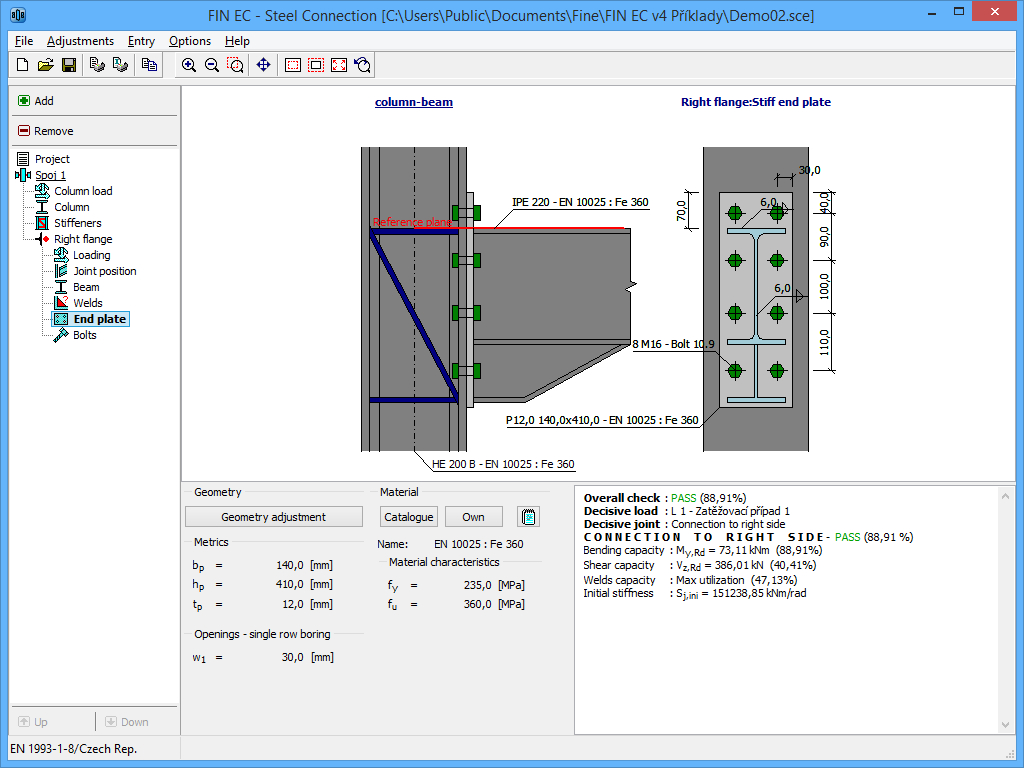 Beam Splice Design Spreadsheet Regarding Steel Connection  Structural Software Fin Ec  Fine