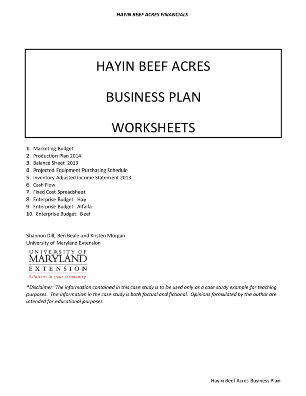 Beef Cattle Budget Spreadsheet Pertaining To Hayin Beef Acres Business Plan Worksheets