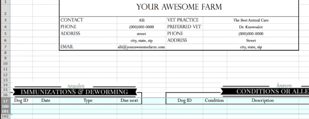 Beekeeping Spreadsheet Regarding Animal Records Spreadsheet • Longbourn Farm