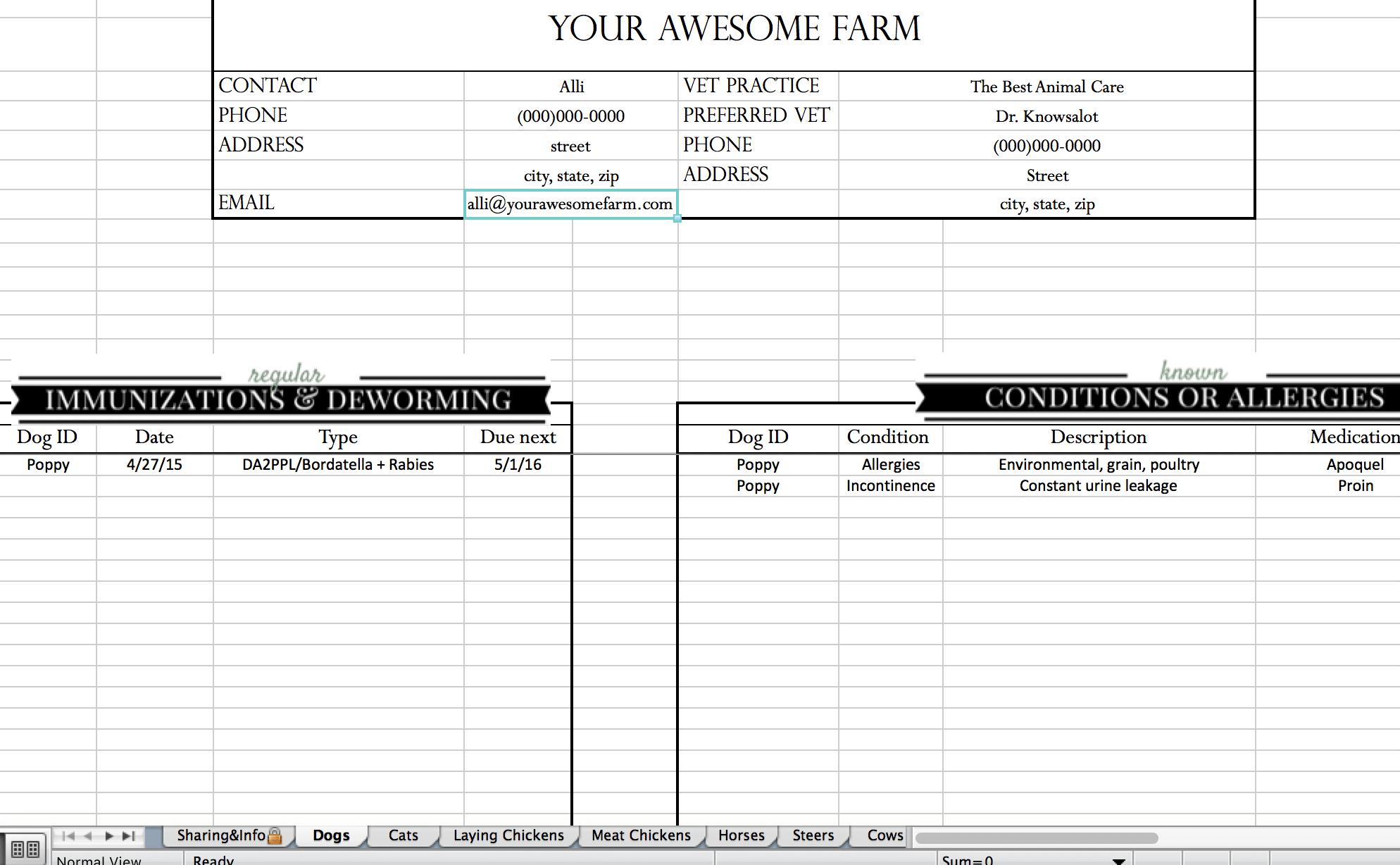 Beekeeping Spreadsheet Within Animal Records Spreadsheet