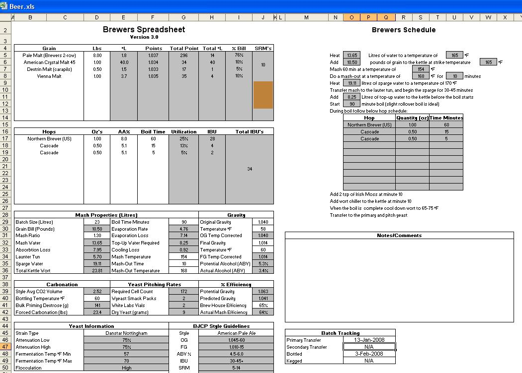 Beer Brewing Excel Spreadsheet Pertaining To Lets See Your Brewing Excel Spreadsheets  Homebrewtalk  Beer
