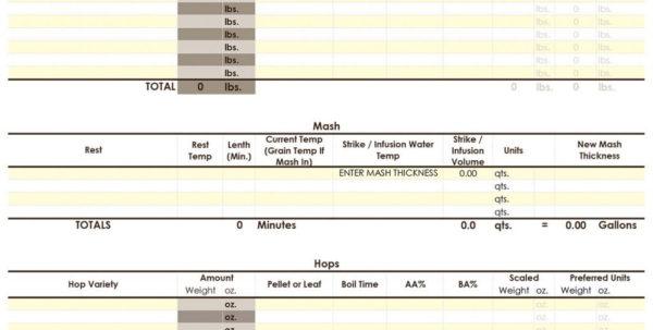 Beer Brewing Excel Spreadsheet Throughout Beer Brewing Excel Spreadsheet My  Pywrapper