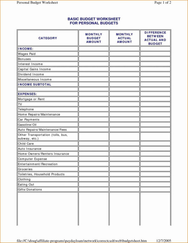 Best Simple Budget Spreadsheet Pertaining To Personal Home Budget Template Best Of Simple Personal Bud