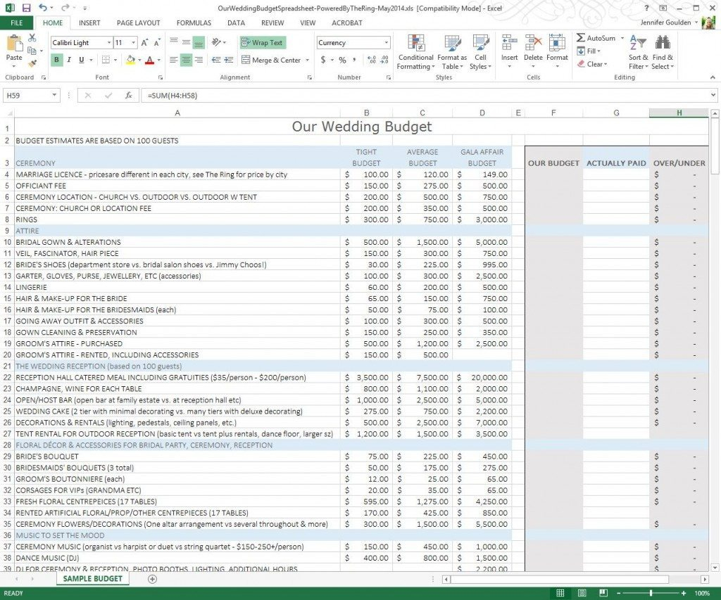 Best Wedding Budget Spreadsheet Throughout Best Wedding Budget Spreadsheet  Homebiz4U2Profit