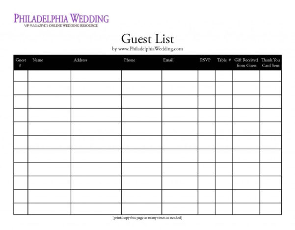 Best Wedding Guest List Spreadsheet Download For Best Wedding Guest List Spreadsheet Download Wedding – Nurul Amal