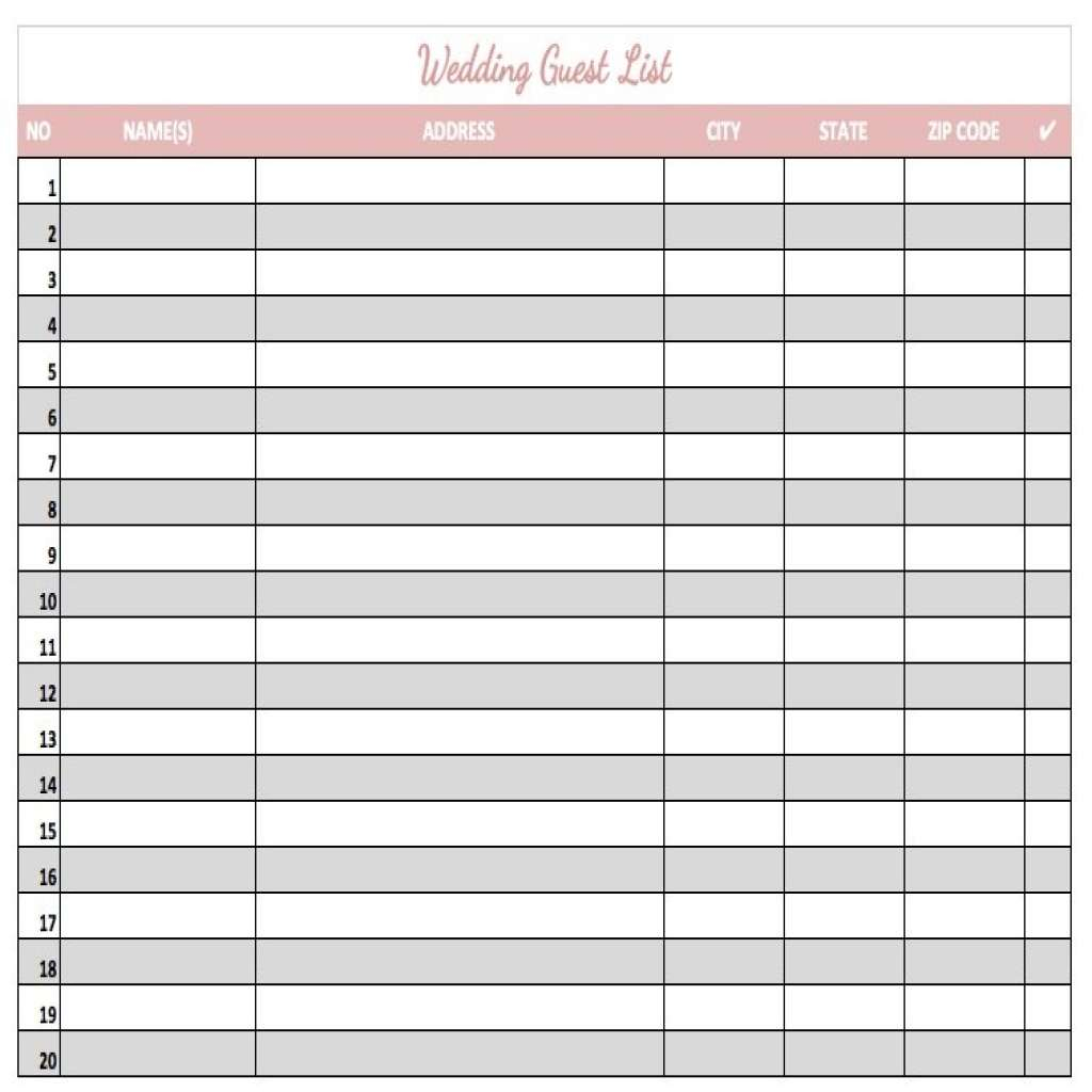 Best Wedding Guest List Spreadsheet Download With Regard To Printable Wedding Guest List Template Luxury 8 Spreadsheet Download