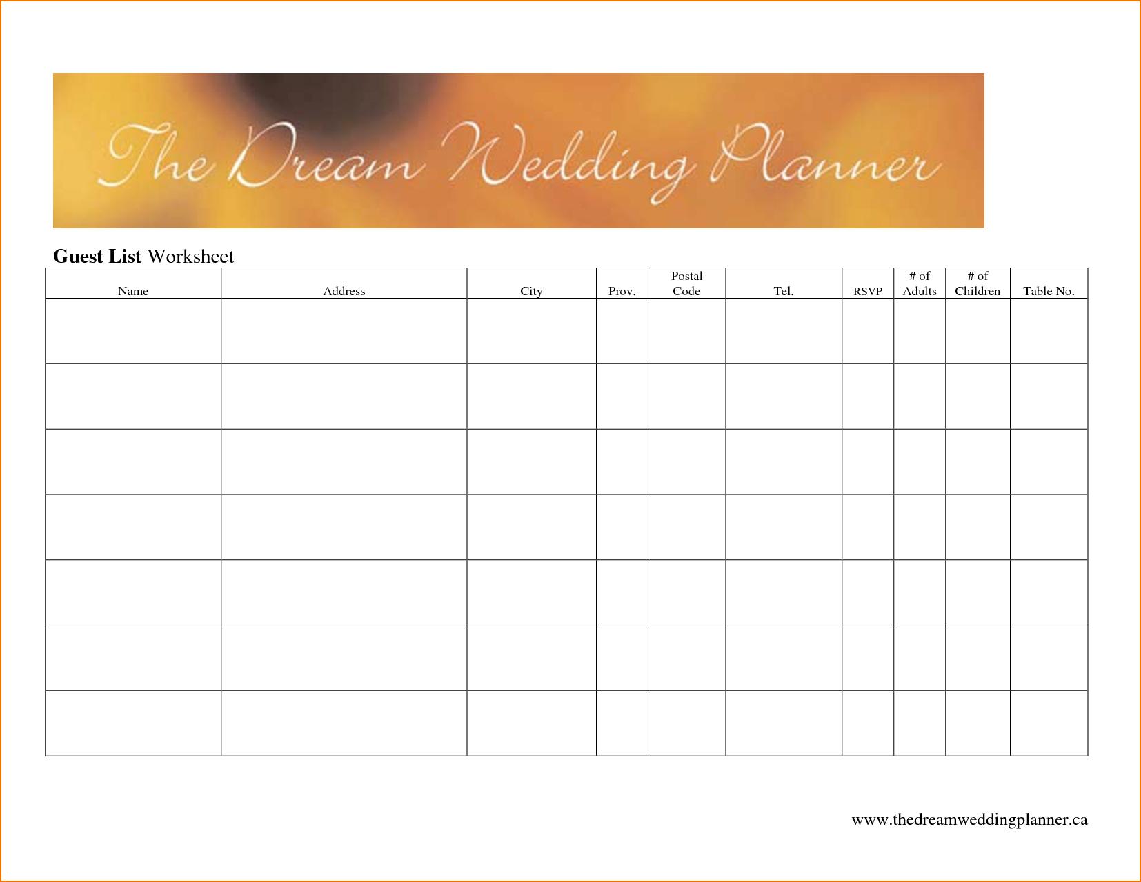 Best Wedding Guest List Spreadsheet Download With Regard To Wedding Guest List Worksheet  Kasare.annafora.co