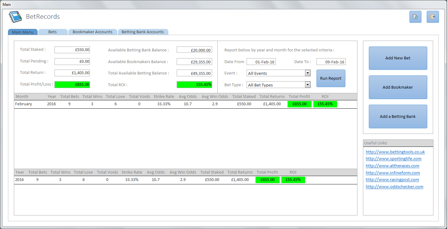 Betting Record Spreadsheet Intended For Bet Records Spreadsheet  Betting Tools