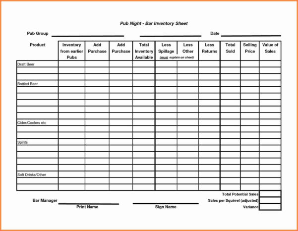 Beverage Cost Spreadsheet For Beverage Inventory Spreadsheet Full Size Of Example Bar