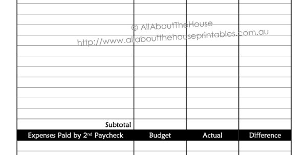 Bi Weekly Expenses Spreadsheet In Bi Weekly Budget Printable Canre Klonec Co Pdf Template  Parttime Jobs