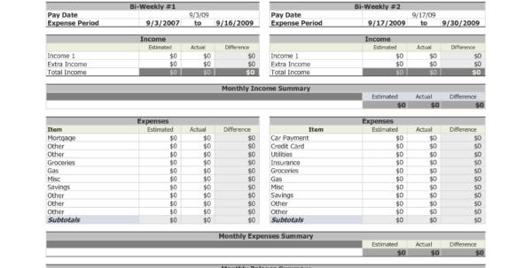 Bi Weekly Expenses Spreadsheet Regarding Biweekly Budget Spreadsheet Hola Klonec Co Weekly Expense Sheet