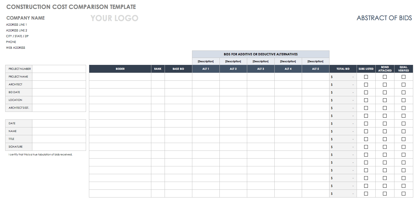 Bid Comparison Spreadsheet Within Free Price Comparison Templates  Smartsheet